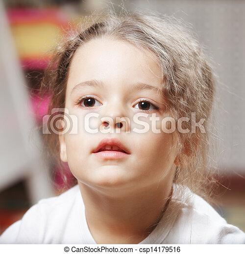 Cute girl in white shirt - csp14179516