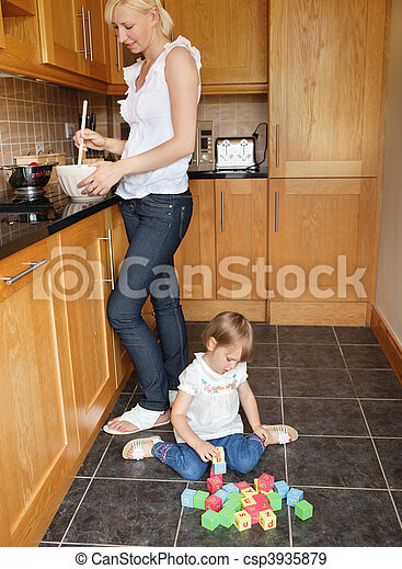 Cute girl playing with her toys - csp3935879