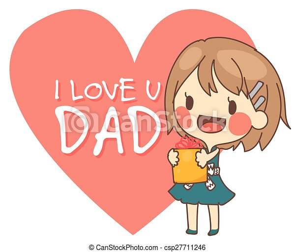 Cute Girl Present I Love You Dad Card Vector Illustration Cute Girl