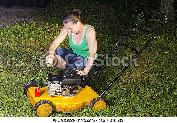 Sexy lady on lawn mower clip art
