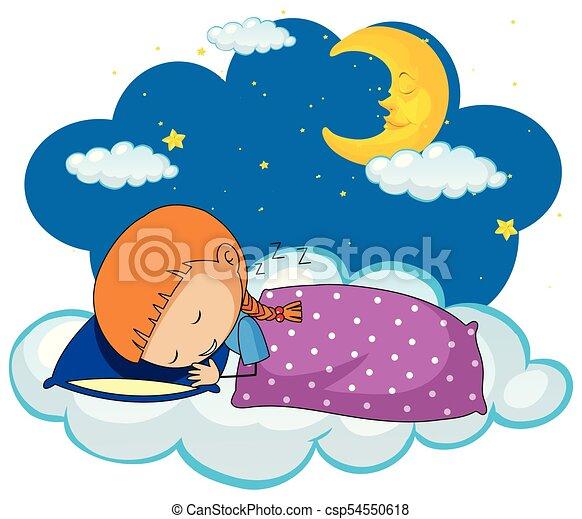 Cute girl sleeping on blue pillow - csp54550618