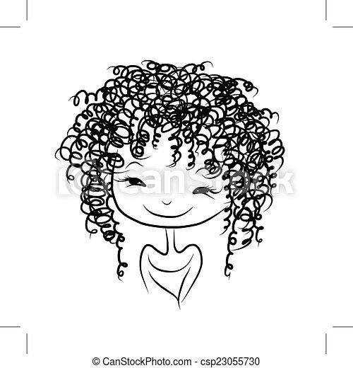 Cute Girl Smiling Sketch For Your Design Vector Illustration