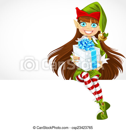 Cute girl the new year\'s elf give a gift and sit on white banner.