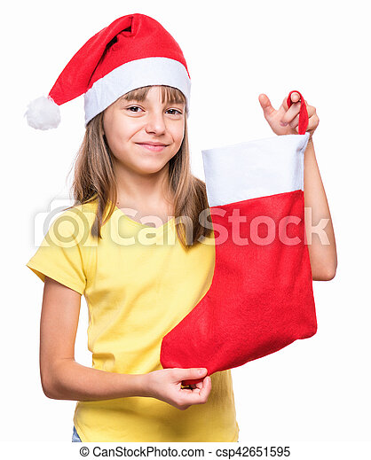 253e66f3e Cute girl wearing Santa Claus hat