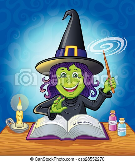 Cute Girl Witch Casting A Spell - csp28552270
