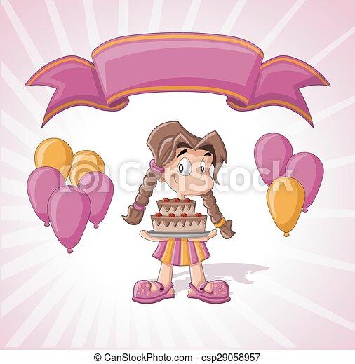Cute girl with birthday cake - csp29058957