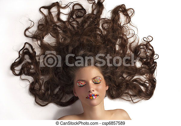 Cute Girl With Colored Makeup And Curly Hair Portrait Of Young