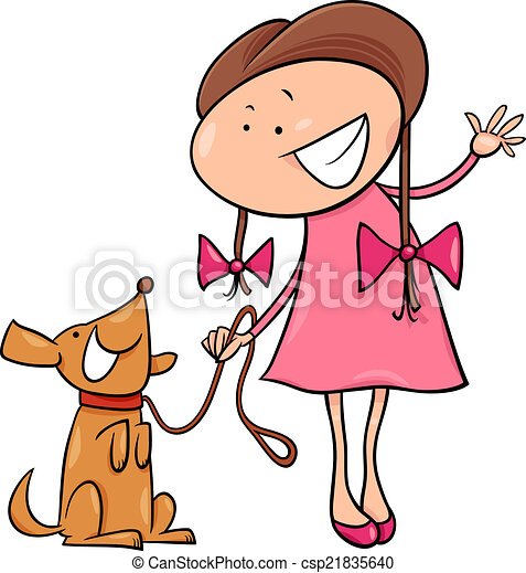 cute girl with dog cartoon illustration - csp21835640