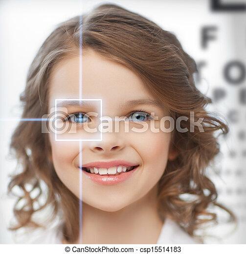 cute girl with eye chart - csp15514183