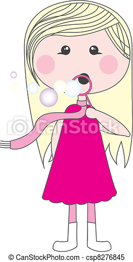 cute girl with soap bubbles - csp8276845