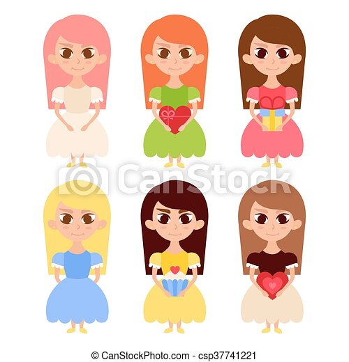 Cute Girls in Dresses with Lovely Hearts - csp37741221