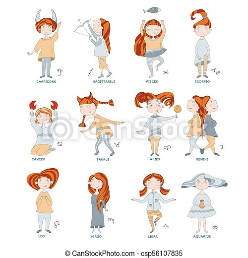 Funny horoscope for girls. cute girls in the form of zodiac signs ...