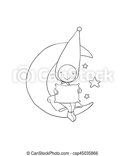 Cute gnome on the moon. Pillow and blanket. for children design. - csp45035866