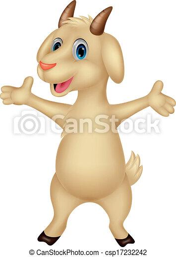 Cute goat cartoon posing  - csp17232242