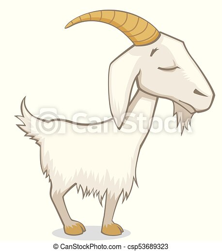 Cute Goat With Eyes Closed Illustration Cute Quirky Goat With Eyes