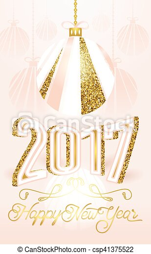 Cute golden 2017 happy new year greeting card on pink background ...