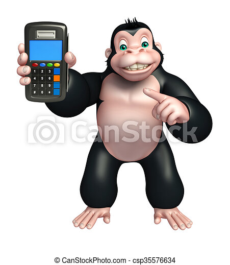 Cute gorilla cartoon character with swap machine. 3d ...