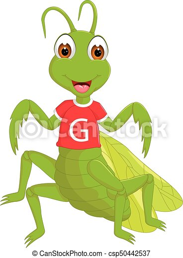 cute grasshopper cartoon standing with smile and waving - csp50442537