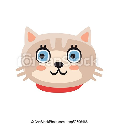 cute gray kitten head funny cartoon cat character adorable clip rh canstockphoto com
