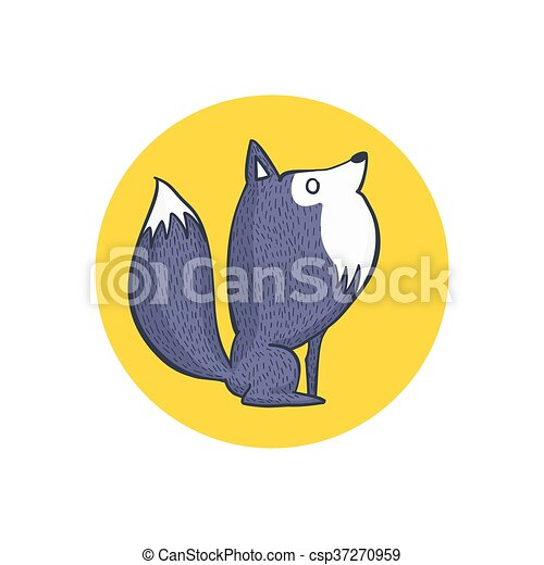 Cute Gray Wolf and Full Moon - csp37270959