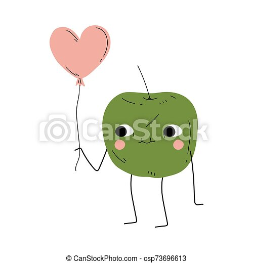 Cute Green Apple Standing with Pink Balloon, Cheerful Fruit Character with Funny Face Vector Illustration - csp73696613