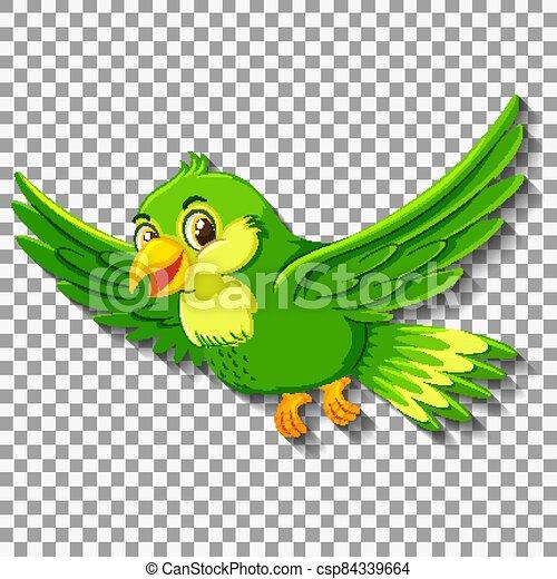 Cute green bird cartoon character - csp84339664