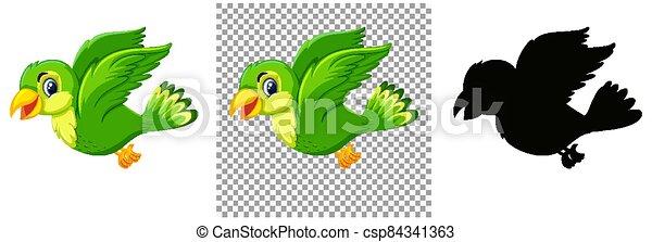 Cute green bird cartoon character - csp84341363