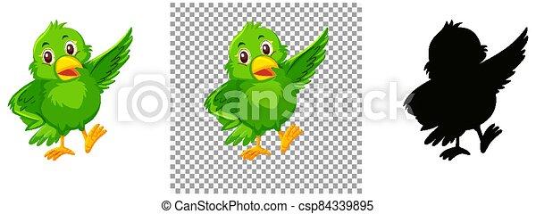 Cute green bird cartoon character - csp84339895