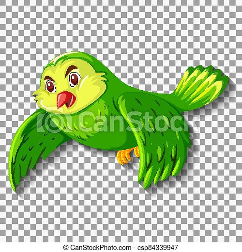 Cute green bird cartoon character - csp84339947