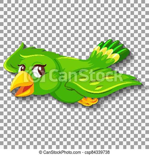 Cute green bird cartoon character - csp84339738
