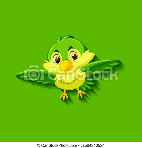Cute green bird cartoon character - csp84340534