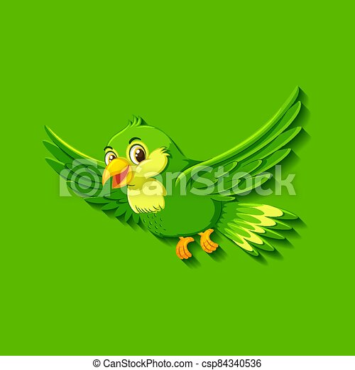 Cute green bird cartoon character - csp84340536