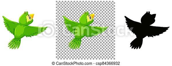 Cute green bird cartoon character - csp84366932