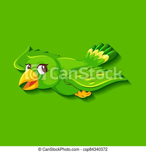 Cute green bird cartoon character - csp84340372