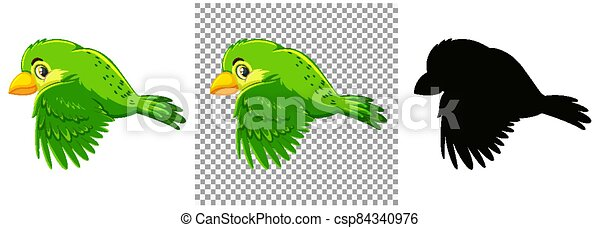 Cute green bird cartoon character - csp84340976