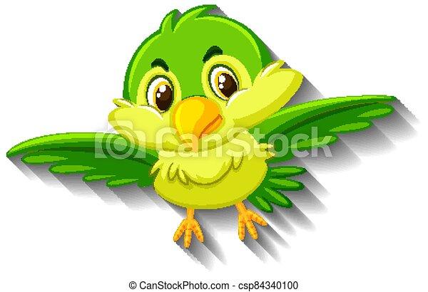 Cute green bird cartoon character - csp84340100