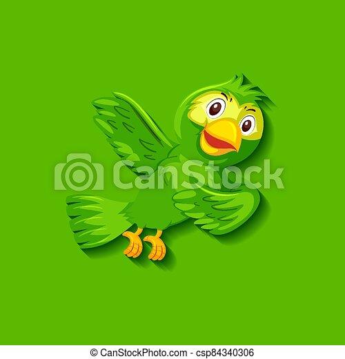 Cute green bird cartoon character - csp84340306