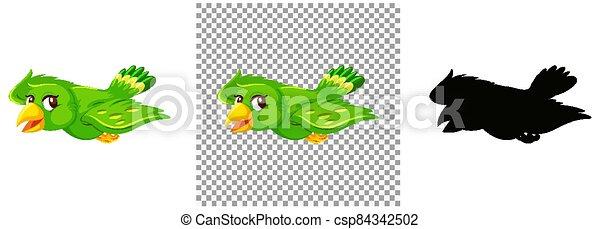 Cute green bird cartoon character - csp84342502