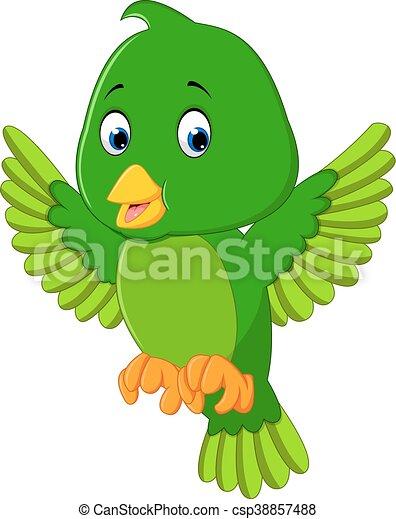 Cute green bird cartoon - csp38857488