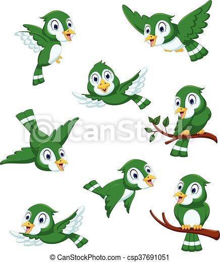 Cute green bird cartoon set - csp37691051