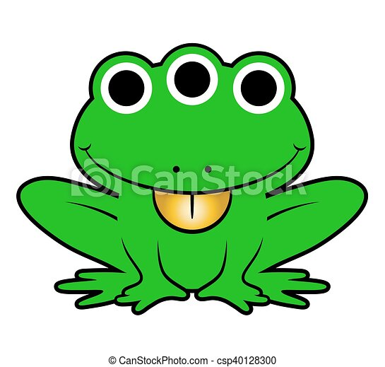 Cute green cartoon alien frog - csp40128300