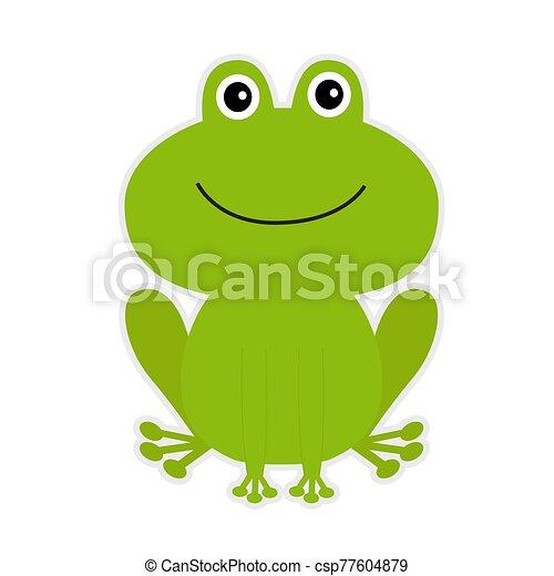 Cute green cartoon frog. - csp77604879