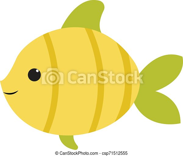 Cute green fish, illustration, vector on white background. - csp71512555