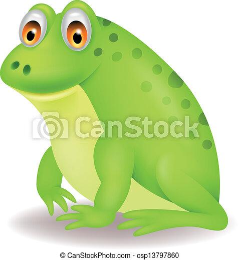 Cute green frog cartoon - csp13797860