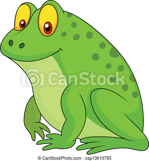 Cute green frog cartoon - csp13610793