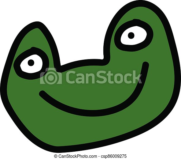 Cute green frog cartoon face on white background - csp86009275