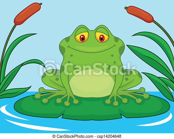 cute green frog cartoon on a lily p vector