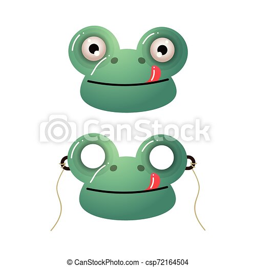 Cute green frog kid mask with red tongue - csp72164504