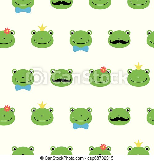 Cute green frog with flower, crown, bow, mustache cartoon character kawaii pattern - csp68702315