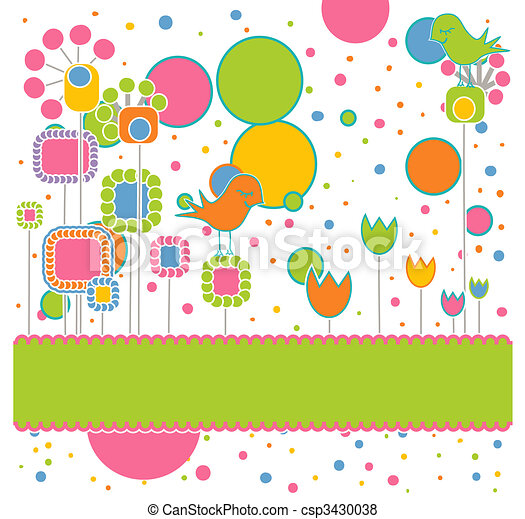 Cute Greeting Card with Flowers and Birds - csp3430038